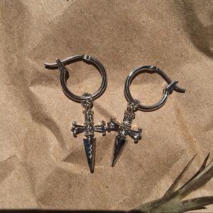 Jewelry - Relic mini cross dagger hoop earrings